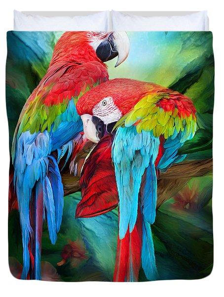 Tropic Spirits - Macaws Duvet Cover by Carol Cavalaris