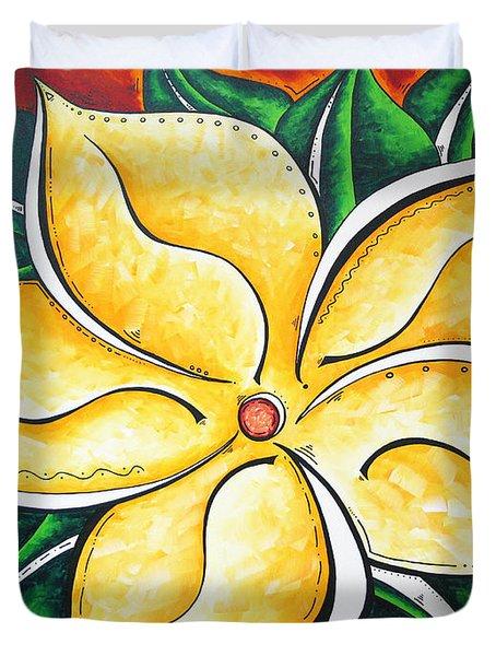 Tropical Abstract Pop Art Original Plumeria Flower Painting Pop Art Tropical Passion By Madart Duvet Cover by Megan Duncanson