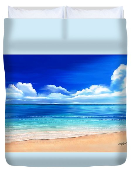 Duvet Cover featuring the drawing Tropical Blue by Anthony Fishburne