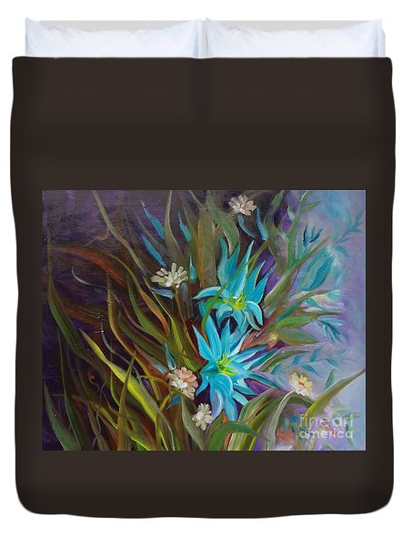 Tropical Blue Duvet Cover by Jenny Lee
