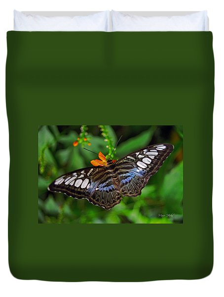 Duvet Cover featuring the photograph Tropical Butterfly by Marie Hicks