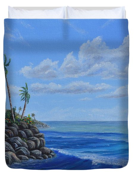 Duvet Cover featuring the painting Tropical Day by Mary Scott