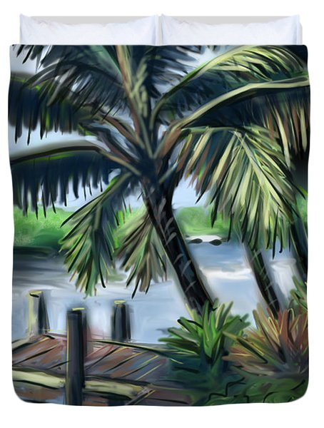 Duvet Cover featuring the painting Tropical Dock Duvet Cover by Jean Pacheco Ravinski