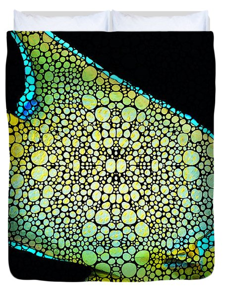 Tropical Fish Art 8 - Abstract Mosaic By Sharon Cummings Duvet Cover
