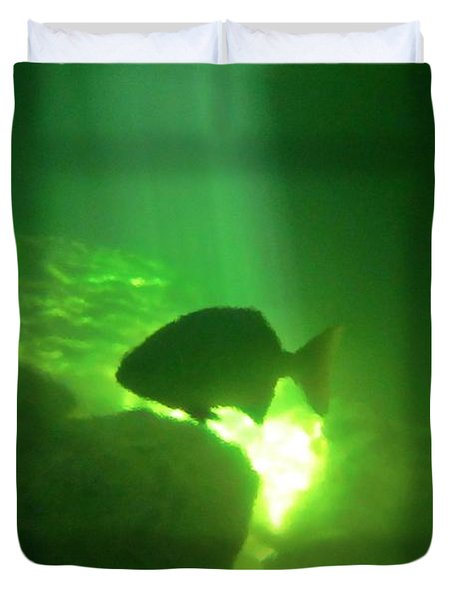 Tropical Fish Shilouette In A Cenote Duvet Cover by Halifax photography by John Malone