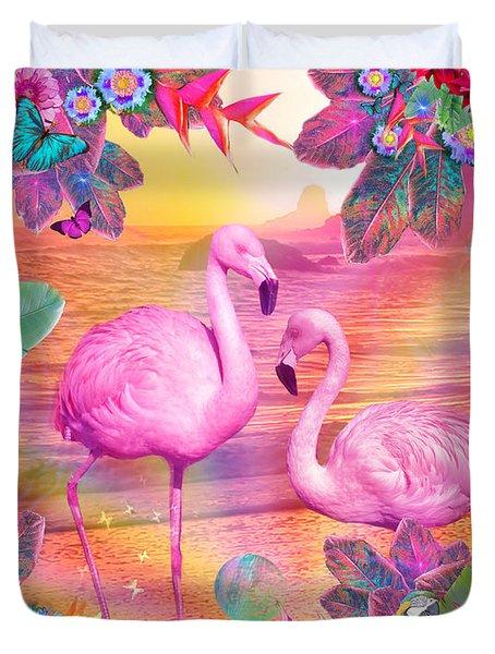 Tropical Flamingo Duvet Cover by Alixandra Mullins