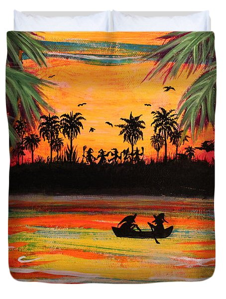 Tropical Halloween In Party Cove 2 Duvet Cover