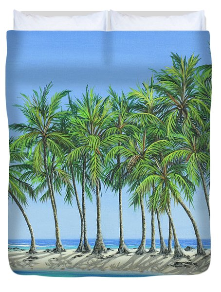 Duvet Cover featuring the painting Tropical Lagoon by Jane Girardot
