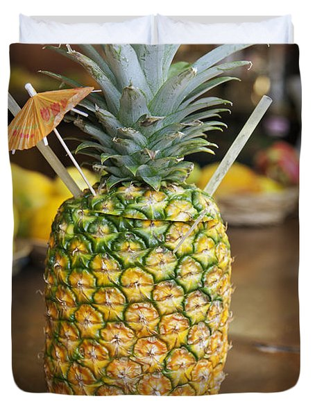 Tropical Pineapple Drink Duvet Cover by Brandon Tabiolo