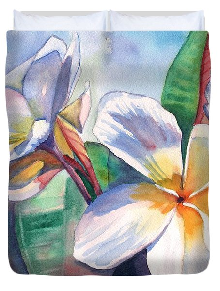 Tropical Plumeria Flowers Duvet Cover
