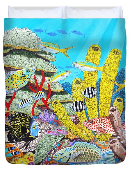 Tropical Reef Duvet Cover by Carey Chen