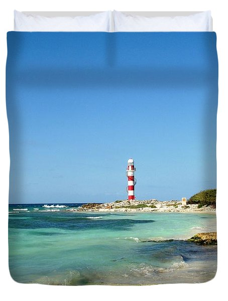 Tropical Seascape With Lighthouse Duvet Cover