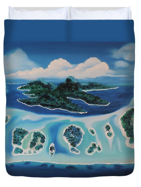 Duvet Cover featuring the painting Tropical Skies by Dianna Lewis