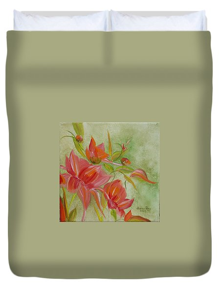 Duvet Cover featuring the painting Tropical Splash by Judith Rhue
