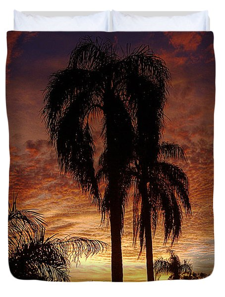 Tropical Sunset Duvet Cover by Kandy Hurley
