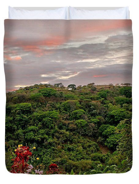 Duvet Cover featuring the photograph Tropical Sunset Landscape by Peggy Collins