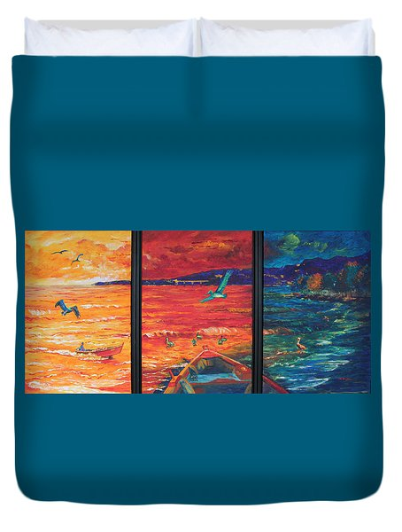 Tropical Trance Triptych Duvet Cover by Estela Robles Galiano