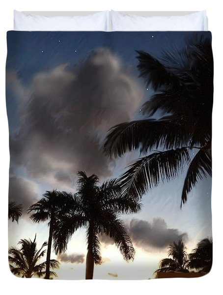 Tropical Twilight With Stars Duvet Cover