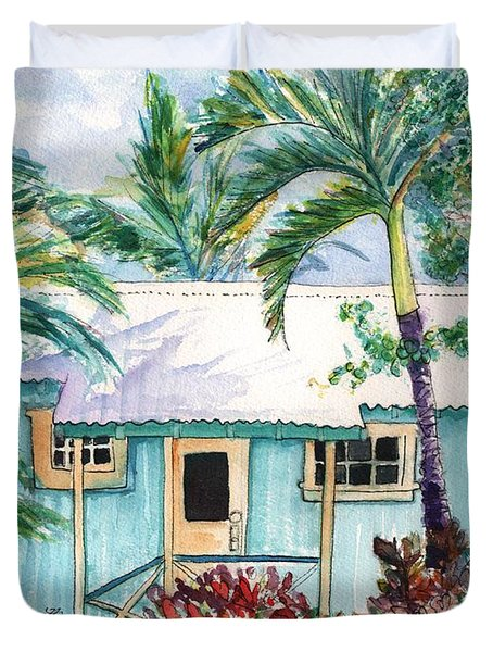 Duvet Cover featuring the painting Tropical Vacation Cottage by Marionette Taboniar