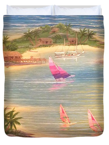 Tropical Windy Island Paradise Duvet Cover