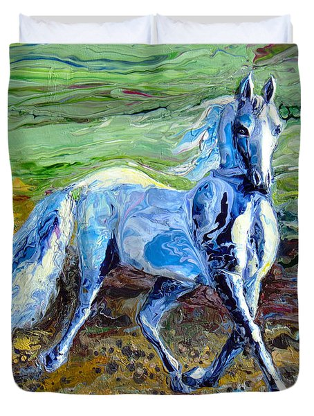 Trotting With Style Duvet Cover by En-Chuen Soo