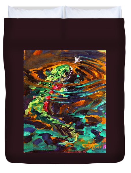 Trout And Fly II Duvet Cover by Savlen Art