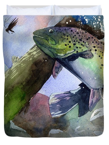 Trout And Fly Duvet Cover
