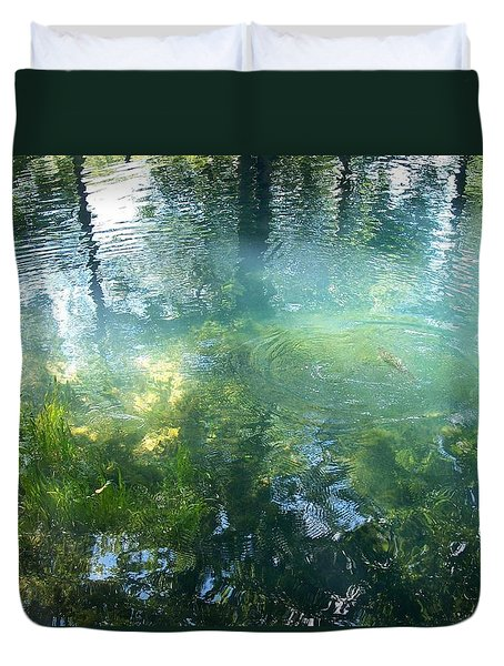 Duvet Cover featuring the photograph Trout Pond by Mary Wolf