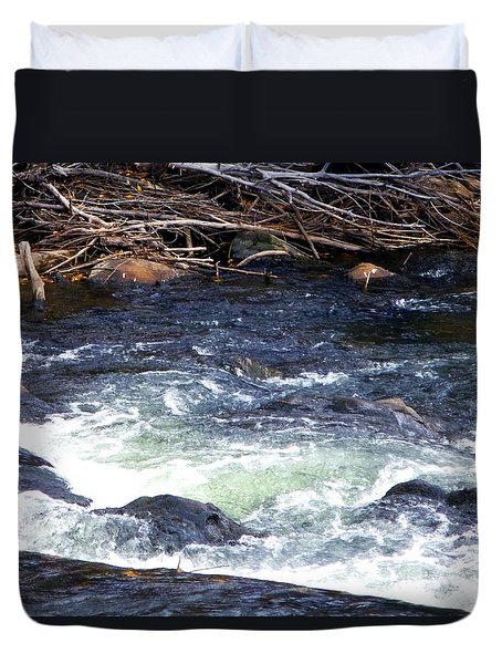 Duvet Cover featuring the photograph Trout River by Jackie Carpenter