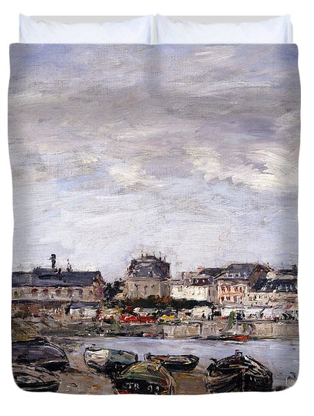 Trouville View Toward Deauville On Market Day Duvet Cover