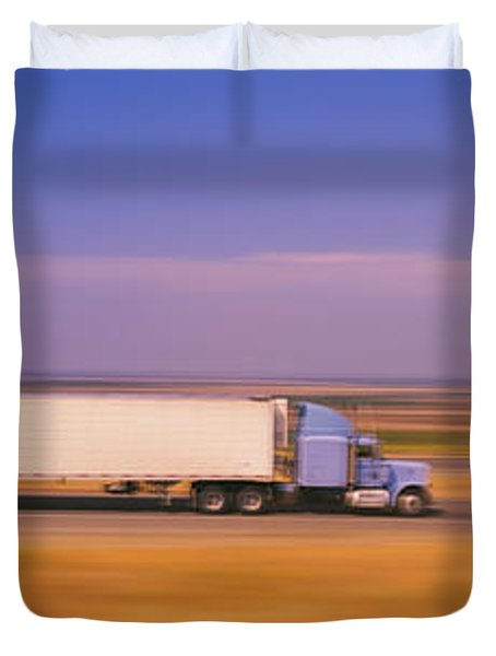 Truck And A Car Moving On A Highway Duvet Cover