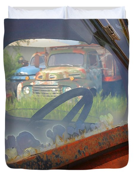 Duvet Cover featuring the photograph Truck Glass by Christopher McKenzie