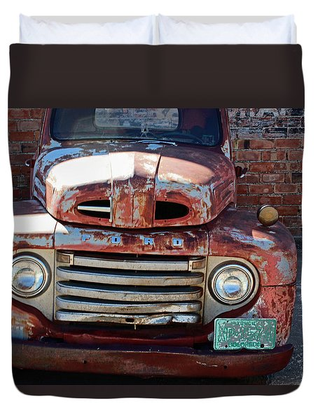 Duvet Cover featuring the photograph Ford In Goodland by Lynn Sprowl