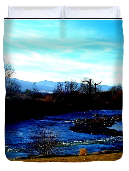 Duvet Cover featuring the photograph Truckee River In Motion by Bobbee Rickard