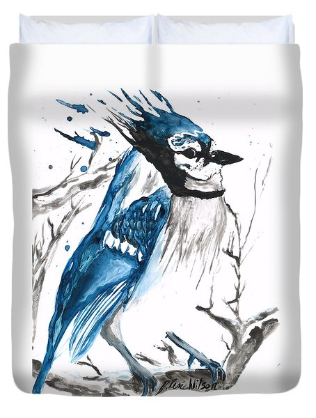True Blue Jay Duvet Cover
