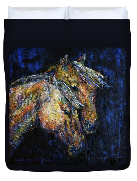 True Companions Contemporary Horse Painting Duvet Cover