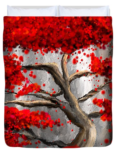True Love Waits - Red And Gray Art Duvet Cover