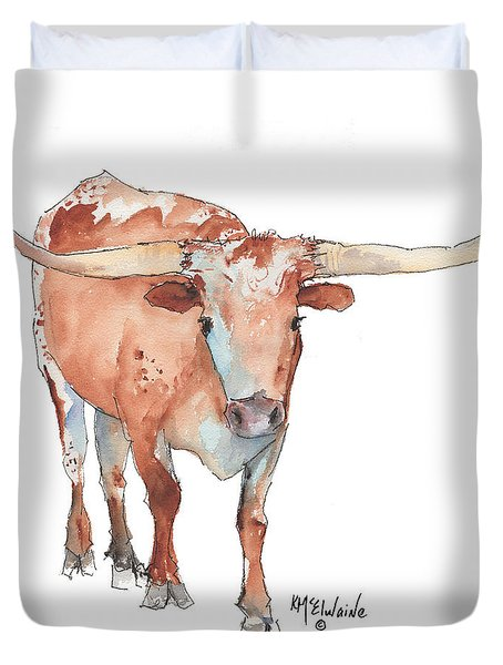 Square Walking Tall Texas Longhorn Watercolor Painting By Kmcelwaine Duvet Cover by Kathleen McElwaine