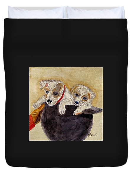Duvet Cover featuring the painting Trump And Tillie by Angela Davies