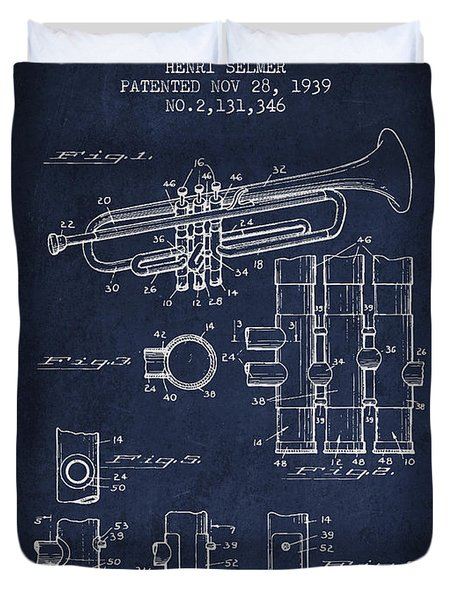 Trumpet Patent From 1939 - Blue Duvet Cover by Aged Pixel