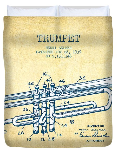 Trumpet Patent From 1939 - Vintage Paper Duvet Cover