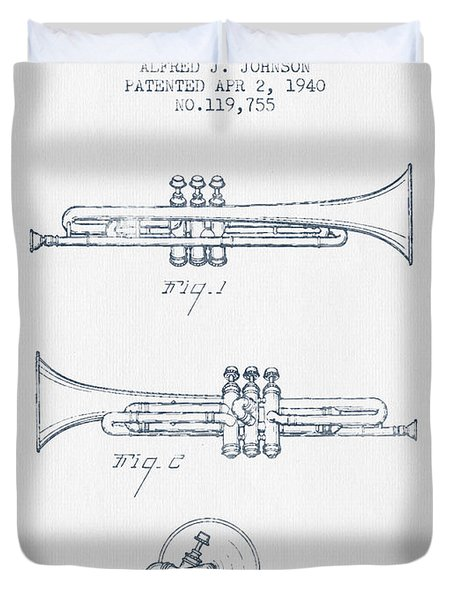 Trumpet Patent From 1940 - Blue Ink Duvet Cover by Aged Pixel