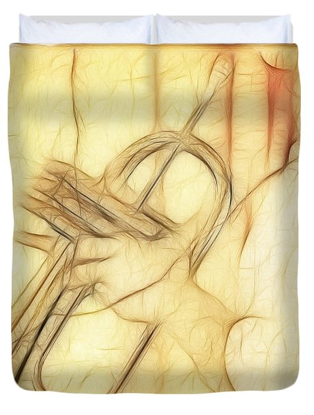 Trumpeter On The Scrap Of Paper - Grunge Style Duvet Cover by Michal Boubin