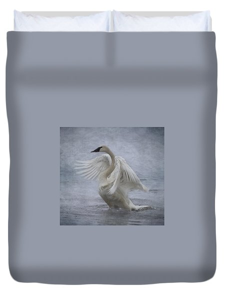 Trumpeter Swan - Misty Display Duvet Cover by Patti Deters