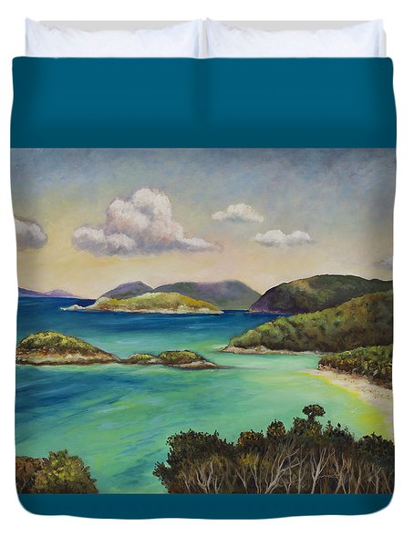 Trunk Bay Overlook Duvet Cover by Eve  Wheeler