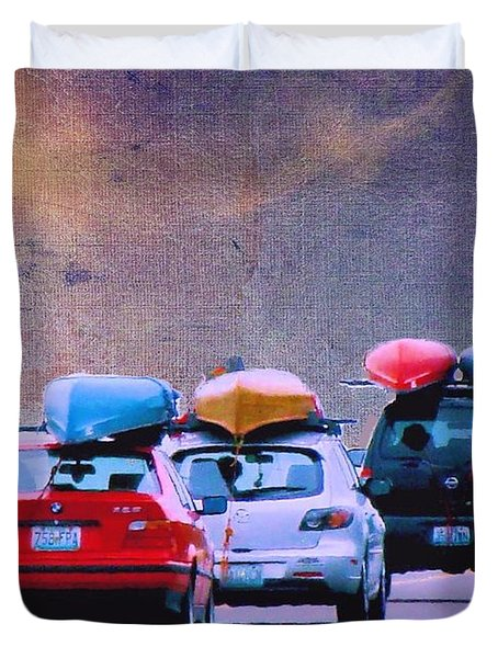 Duvet Cover featuring the photograph Trying To Beat The Rain by Janette Boyd