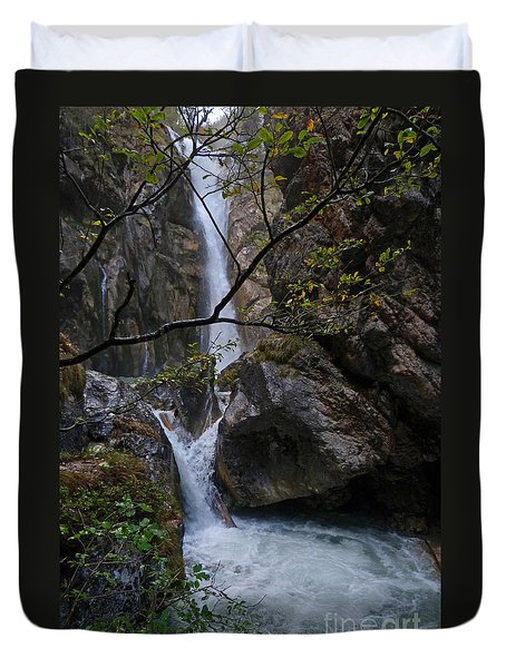 Duvet Cover featuring the photograph Tschaukofall Waterfall - Austria by Phil Banks