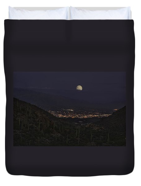 Tucson At Dusk Duvet Cover by Lynn Geoffroy