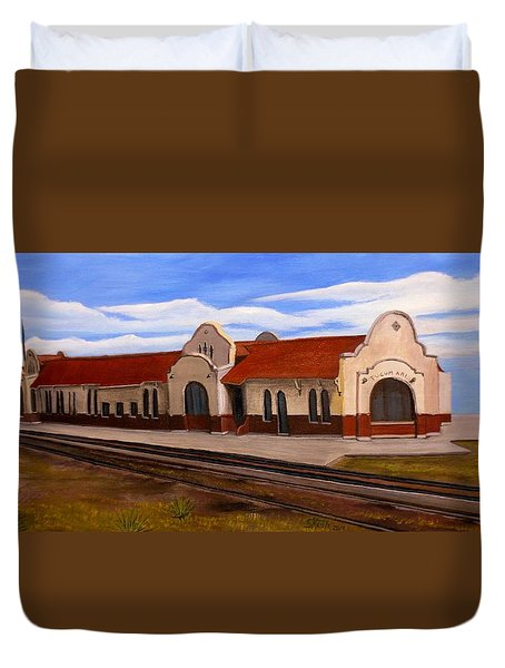 Tucumcari Train Depot Duvet Cover by Sheri Keith