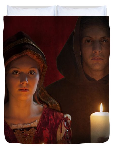Tudor Medieval Young Attractive Couple  Holding  Candles Duvet Cover by Lee Avison